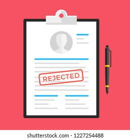 Rejected document, application form, submission, resume. Clipboard and document with rejected stamp and pen. Flat design. Vector illustration