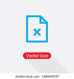 Rejected Document Icon Cross On Paper Icon Vector Illustration In Flat Style Eps10