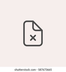Rejected document icon. Cross on paper vector