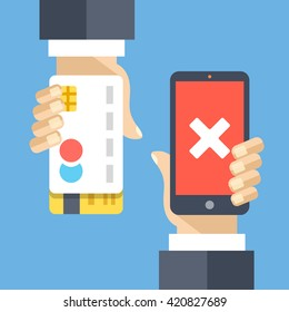 Rejected mobile payment flat illustration concept. Transaction rejected. Modern flat design concepts for web banners, website, printed materials, infographics. Creative vector illustration