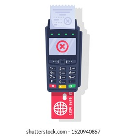 Rejected payment transaction. Red cross as a symbol of failure. Payment terminal, paper check and plastic bank card. NFC POS terminal for payment. Vector illustration flat design. Blocked credit card.