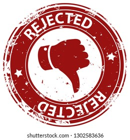 Rejected rubber stamp icon with thumb down symbol isolated on white background. Vector illustration