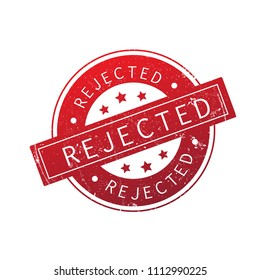 Rejected stamp isolated on white background. Trendy rejected stamp in flat style. Template for web site, app, label,ui and logo. Useful for sticker, banner,poster and placard, vector illustration, eps