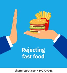 Rejecting the offered fast food vector illustration with man hands