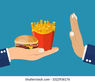 Rejecting the offered junk food. Gesture hand NO rejecting fast food. Offer fries and a hamburger in hand. Stop fat, calorie, unhealthy snack. Vector illustration in flat style