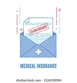 Rejection letter from the insurance company.Medical form with claim denied stamp. Failed payment reimbursement. Declined treatment coverage. Finance and medical concept. Vector flat illustration.