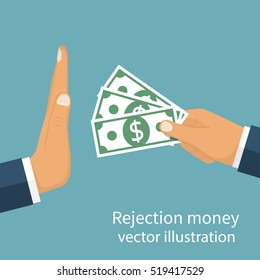 Rejection money, concept. Businessman holding money in hand offering bribe. Hand gesture rejecting the proposal. Violation of the law, corruption. Refuse cash. Vector illustration flat design.