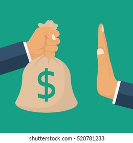 Rejection money, concept. Businessman holding bag of money in hand offering bribe. Hand gesture rejecting the proposal. Violation of the law, corruption. Refuse cash. Vector illustration flat design.