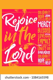 rejoice christian quote distress poster colorful gospel faith