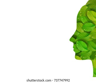 rejuvenate the face skin concept, woman profile created from the fresh green leaves on the white background, think green concept, spring face, vector