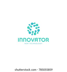 Related innovative abstract logo. New technology innovation vector symbol. Innovator logotype.