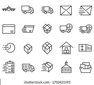 Related Set Delivery Thin Line Icons. High Quality Pictograms of Logistics.