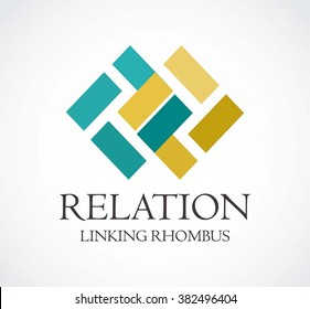 Relation rhombus of line connection abstract vector and logo design or template linking chain business icon of company identity symbol concept