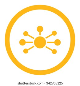 Relations vector icon. Style is flat rounded symbol, yellow color, rounded angles, white background.