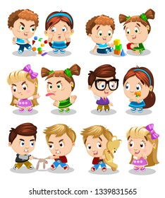 Relationship between kids. Set of pictures, whereon boys and girls quarrel, play with building blocks, scuffle, put out tongue, play together, give presents, share toys. Cartoon isolated on white.
