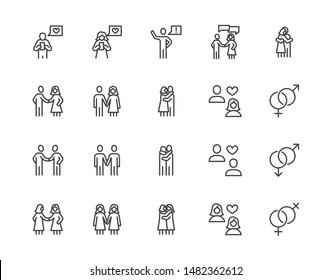 Relationship flat line icons set. Acquaintance, hug, romantic dating, gay, lesbian couple vector illustrations. Outline signs of man woman, LGBT love relations. Pixel perfect. Editable Strokes.
