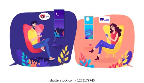 Relationship at a long distance . Social media and mobile technology communication.