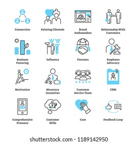 Relationship marketing icon collection set. Business commercial strategy vector illustration. Symbols of connection, clientele, brand ambassadors, influence and feedback.