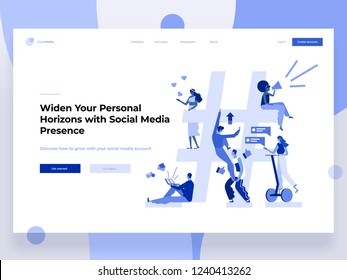 Relationship, online dating and networking concept - people sharing information via social media platforms and interacting with icons. Landing concept. Flat vector illustration