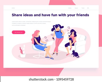 Relationship, online dating and social networking concept - girls holding mobile phones chat, share ideas on the Internet and have fun. Landing concept. 3d isometric. Line style illustration.