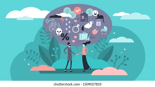 Relationship vector illustration. Flat tiny various feelings person concept. Abstract mutual emotions and link type between friends, siblings or lovers. Psychological connection diversity collection.