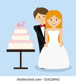 Relationship, wedding and love  celebration graphic design, vector illustration