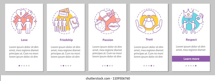 Relationships and feelings onboarding mobile app page screen with linear concepts.  Love, respect, trust, passion, friendship steps graphic instructions. UX, UI, GUI vector template with illustrations