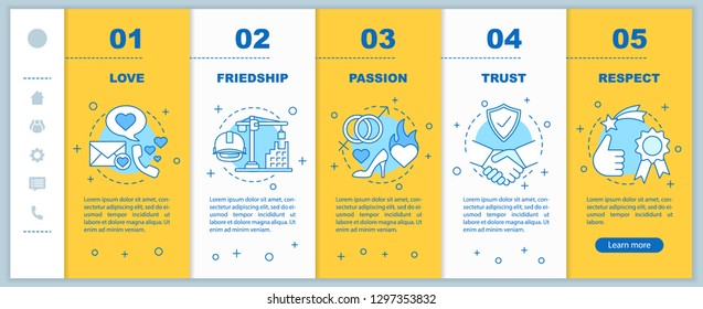 Relationships and feelings onboarding mobile app page screen vector template. Love, friendship, passion walkthrough website steps with linear illustrations. UX, UI, GUI smartphone interface concept