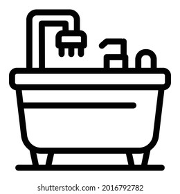 Relax bathtub icon. Outline relax bathtub vector icon for web design isolated on white background