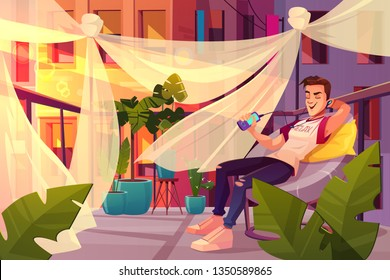 Relax and chill out in city bustle cartoon vector concept. Happy young man sitting in armchair, listening music with earphones, singing, resting on balcony, cafe terrace with green plants illustration