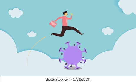 Relax color concept,business vision,after COVID-19 change human lifestyle,Businessman carrying office bag and mask are jumping over the coronavirus,cloud background,pink/rosy cheek,soft pastel vector