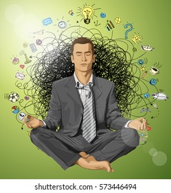 Relax concept. Vector businessman in lotus pose meditating