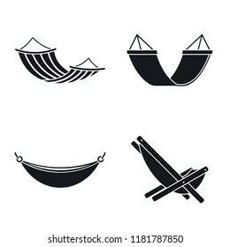 Relax hammock icon set. Simple set of relax hammock vector icons for web design on white background