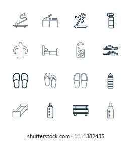 Relax icon. collection of 16 relax outline icons such as baby bottle, aroma stick, slippers, bottle for fitness, fitness bottle. editable relax icons for web and mobile.