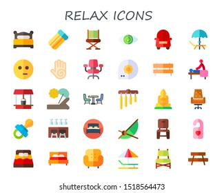 relax icon set. 30 flat relax icons.  Collection Of - bed, air mattress, chair, fatigue, armchair, deck, meditate, massage, desk chair, summer, bench, well, sunbed, chimes icons