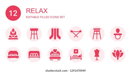 relax icon set. Collection of 12 filled relax icons included Buddha, Stool, Atari, Folding chair, Double bed, Bench, Bed, Medical bed, Dummy, Pacifier, Lotus