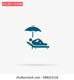 Relax Icon Vector. Flat simple Blue pictogram on white background. Illustration symbol with shadow