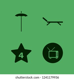 relax icon. relax vector icons set beach umbrella, hotel four stars, chaise lounge and tv