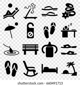Relax icons set. set of 16 relax filled icons such as baby bottle, flip flops, spa stones, aroma stick, do not disturb, slippers, bench, man sleeping on table, umbrella