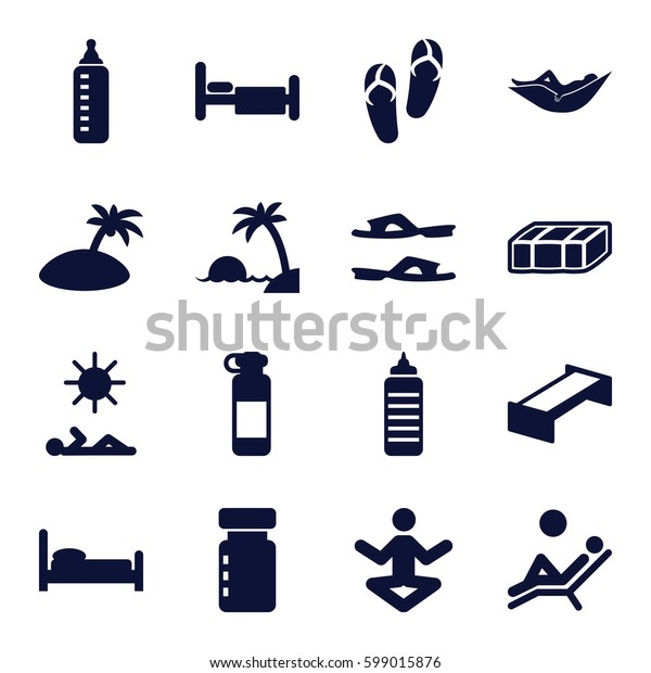 relax icons set. Set of 16 relax filled icons such as garden bench, baby bottle, woman in hammock, flip flops, slippers, bed, man laying in sun, man laying in the sun, island