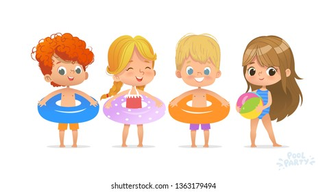 Relax International Children Swimming Pool Party. Red-haired Boy Character with Blue Ring on Fun Sea Resort. Little Girl in Swimsuit Funny Summer Vacation. Flat Cartoon Vector Illustration