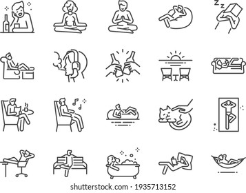 Relax line icon set. Included the icons as chill, take a rest, recreation, relaxation, calm, and more.