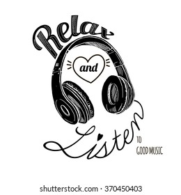 relax and listen to good music, fashion quote design, t-shirt print