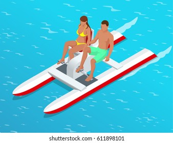 Relax on the paddle boat.  Couple on pedalo also called pedal boat on a lake. summer time concept.  Flat 3d vector isometric illustration. For infographics, design and games
