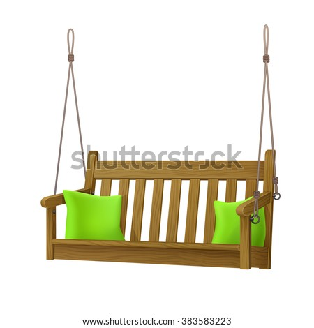 Relax Outdoor Wooden Oak Porch Swing Stock Vector Royalty Free