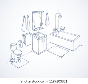 Relax sanitation tub with rug mat on white floor background. Line black ink hand drawn privacy loo flush icon in art retro doodle graphic style pen on paper. Isometric view with space for text on wall
