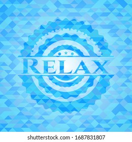 Relax sky blue emblem with mosaic ecological style background