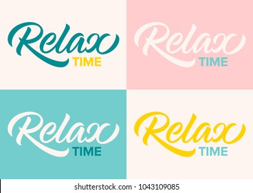 relax time, calligraphy, lettering, handwritten text, set of cards