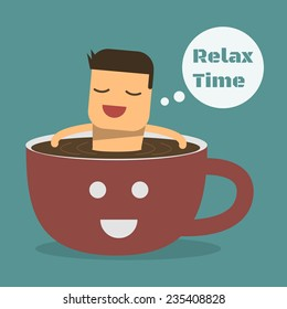 Relax time with coffee,Vector cartoon concept abstract business