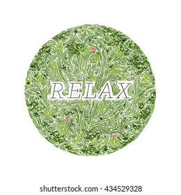 Relax wavy grass decorated badge, hand-drawn vector illustration.